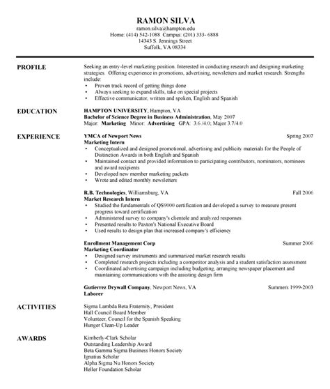 Exles Of Entry Level Resumes by International Business Entry Level International Business Resume
