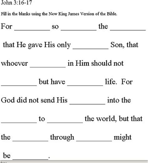 Scripture Fill In The Blanks