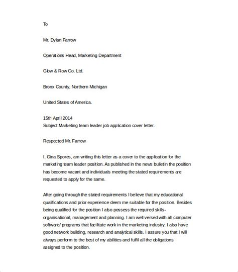 cover letter exles for team leader position sle cover letter exle 24 free documents