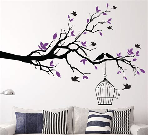 Vinyl Wall Art Stickers aliexpress com buy tree branch with bird cage wall art