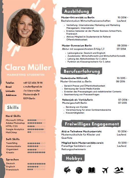 Kreativer Lebenslauf Vorlage by Lebenslauf Tipps Studentjob De