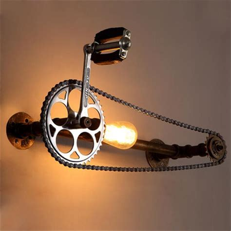 Bicycle Gear Wall Lamps Industrial Style Iron Art Wall Light Loft Cafes Corridor Retro Water