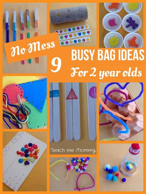 2 Year Ideas - no mess busy bag ideas for 2 year olds teach me