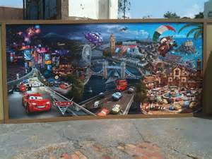 Cars Wall Murals Wordless Wednesday Pixar Cars 2 Mural At Walt Disney