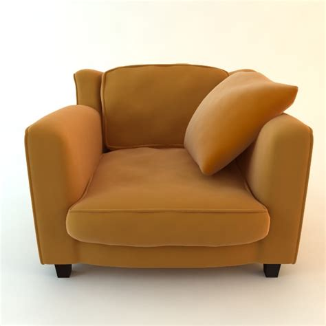 armchair throws orange armchair with throw pillow 3d model max obj 3ds fbx