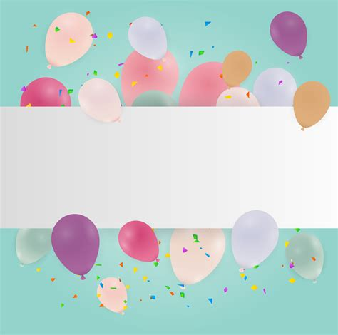 happy birthday card  pastel colorful balloons vector