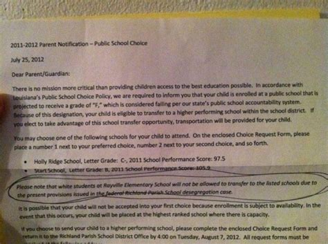 Parent Letter Student Failing rayville elementary failing louisiana school will not