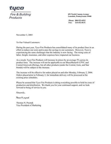 Explanation Letter For Price Increase Price Increase Letter Custom College Papers