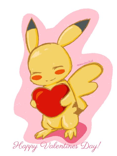 pikachu valentines day happy valentines says pikachu by animecutesilkcat on