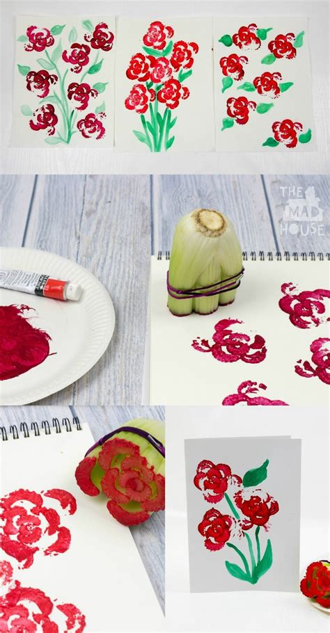 8 Floral And Lovely Projects by Printing Flowers With Celery Stalks Vegetable Printing