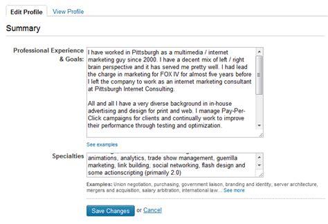 linkedin profile summary exles reanimators