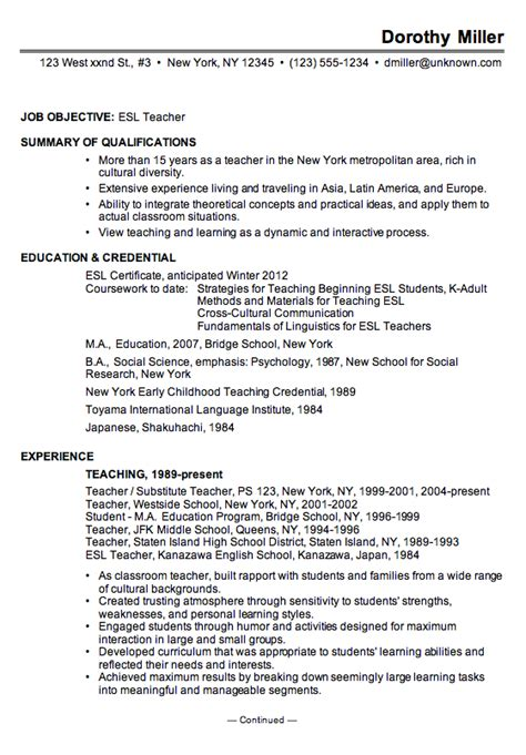 Effective Resume Sle by Sle Curriculum Vitae Creative Writing