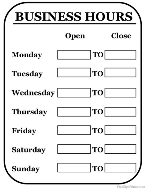 hours of operation template printable business hours sign