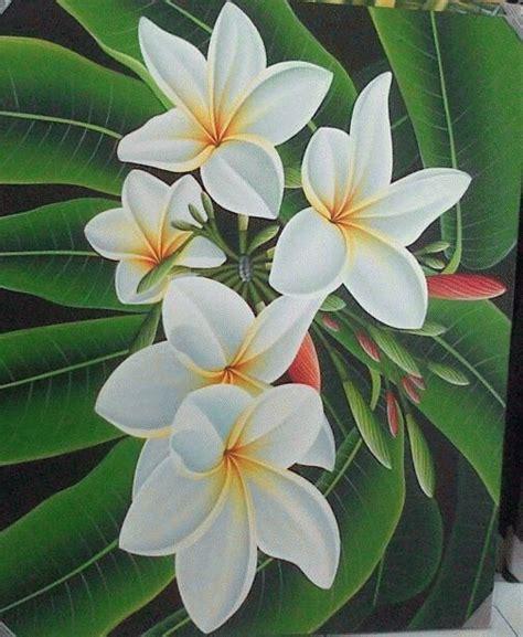 jual lukisan bunga jepun bali putih warna warni bali