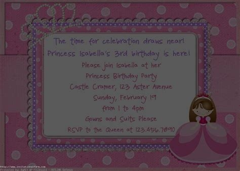 princess birthday card template princess birthday invitations card free