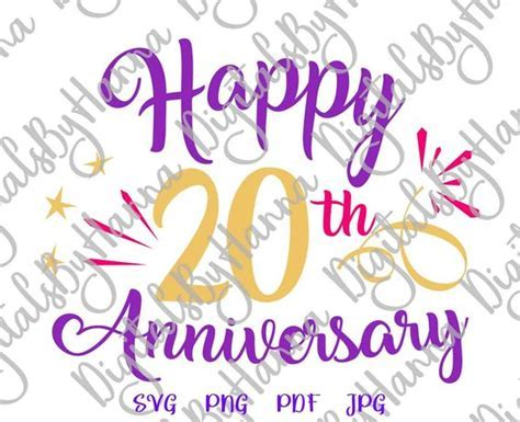 Happy 20th Anniversary SVG Files for Cricut Gift Him Her