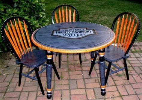 harley davidson table and chairs harley table for my bck porch harley davidson style