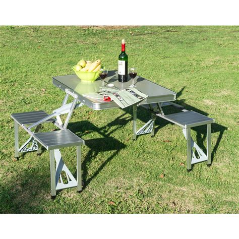 new outdoor portable folding aluminum picnic table 4 seats