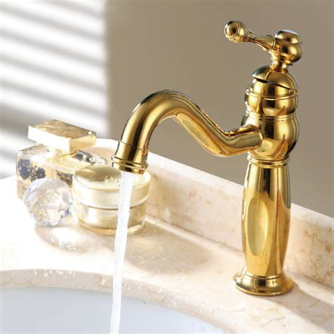 gold bathroom sink taps trunk classic style single hole sink faucet gold