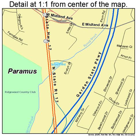 paramus new jersey street map 3455950