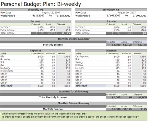 Biweekly Budget Biweekly Budget Excel Template Monthly Budget Based On Biweekly Pay Template