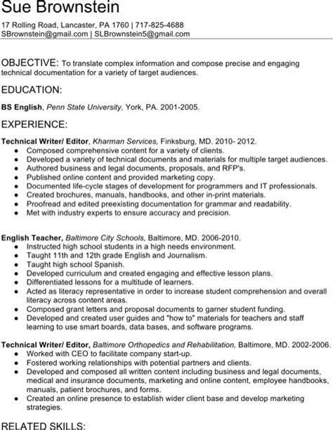 Writer S Resume Exle by Technical Resume Template Resume And Cover Letter