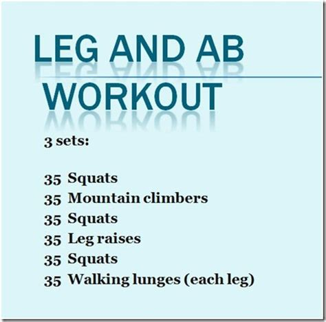 no equipment leg and ab workout eat run