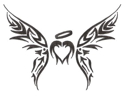 small heart with angel wings tattoo designs blessed tribal by baisteachceilteach on deviantart