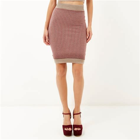 knitted bodycon skirt river island pink metallic knitted bodycon skirt in pink