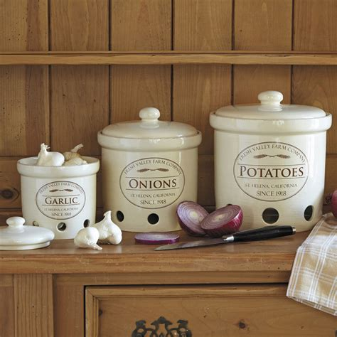 designer kitchen canisters garlic potato crock canisters jar fresh storage