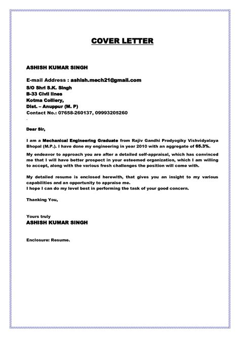 Application Letter For Fresh Graduate Chemical Engineer cover letter for fresh graduate civil engineer