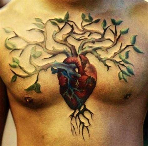 heart tree tattoo tree grown from on chest tattooimages biz