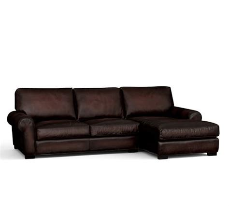 Turner Roll Arm Leather Sofa With Chaise Sectional Leather Sectional Sofas With Chaise