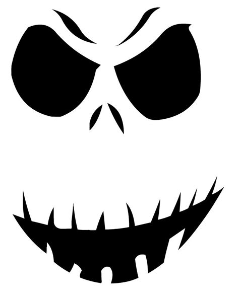 Free Printable Jack Skellington Pumpkin Carving Stencil Templates Download Funny Halloween Day Free Stencil Templates