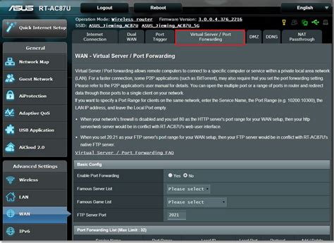 port   asus router support  ip
