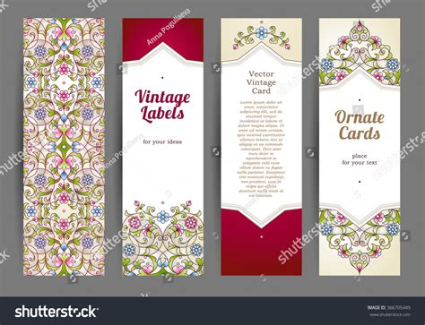 ornate card templates vector set ornate vertical cards stock vector