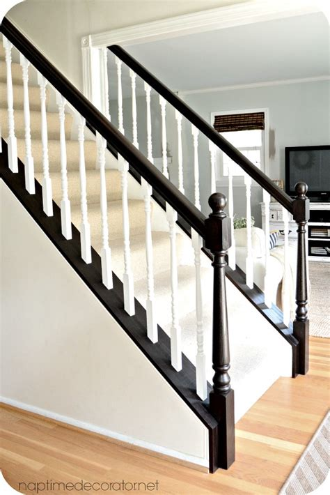 Restaining Banister Rail by Bye Bye Cherry Helloooo Java The Easy Banister Makeover