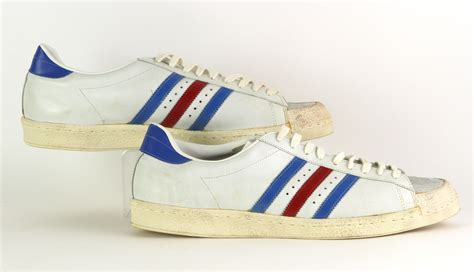 lot detail 1960 s 70 s american basketball association white blue adidas superstar