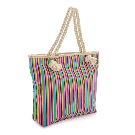 Rope Handle Canvas Tote Bag Intl womens new canvas rope handle multicolour shopper