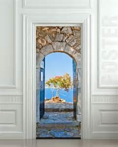 Wall door sticker greece health resort travel landscape mural decole