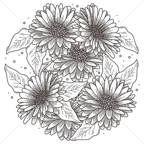 intricate sunflower design vector image 1973492