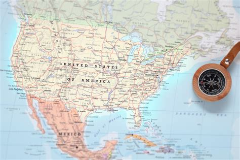 united states map with compass travel destination united states map with compass stock