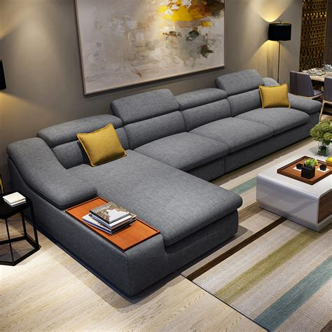 Modern L Shape Sofa Living Room Furniture Modern L Shaped Fabric Corner Sectional Sofa Set Design Couches For Living