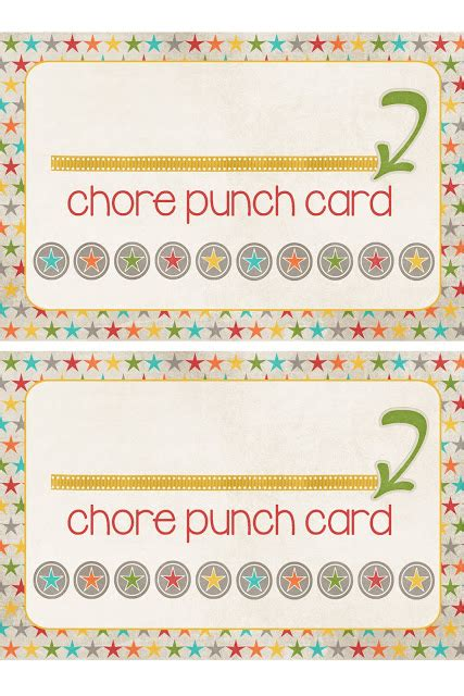 punch card template for students a pocket of lds prints chore punch cards freebie
