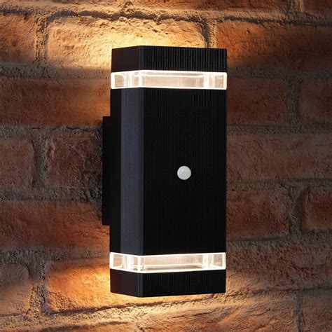up and down lights with sensor auraglow pir motion sensor double up down wall light