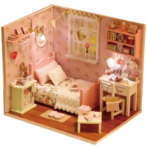 dollhouse bedroom diy wood doll house for dolls made of wooden miniature