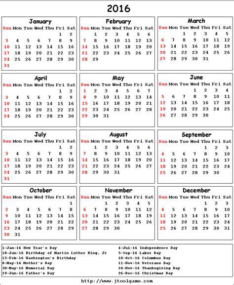 Printable Calendar 2016 With Holidays Usa | 2016 calendar printable calendar 2016 calendar in