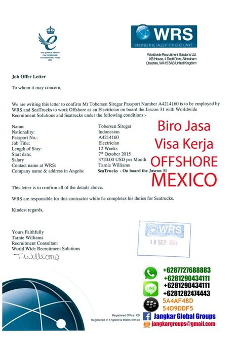 Offer Letter Kerja Visa Kerja Offshore Ke Mexico Jangkar Groups