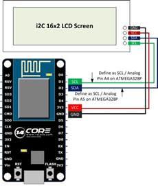 wiring nodemcu esp8266 12e with i2c 16 215 2 lcd screen
