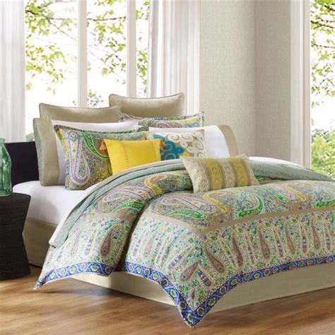 the name of this book means comforter in hebrew echo scarf paisley sateen 4 piece comforter set multi